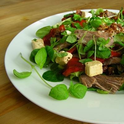 Mediterranean flavours inspired salad with slow roasted lamb